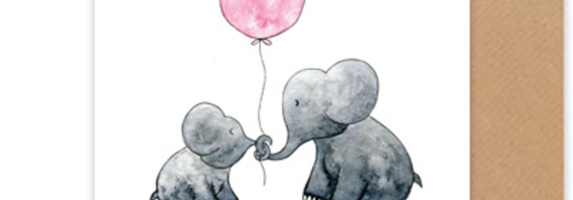 """card elephants """"hallo lief kleintje"""""""