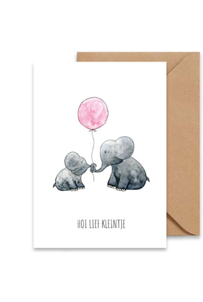 """kaart olifantjes """"hallo lief kleintje"""""""