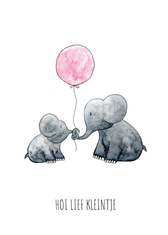 """card elephants """"hallo lief kleintje""""-2"""
