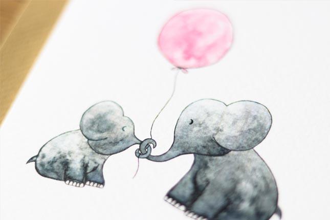 """card elephants """"hallo lief kleintje""""-3"""
