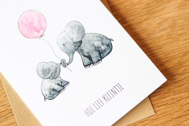 """card elephants """"hallo lief kleintje""""-4"""