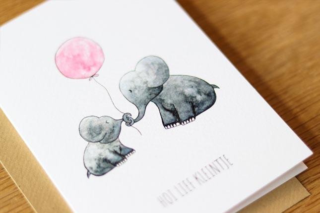 """card elephants """"hallo lief kleintje""""-5"""