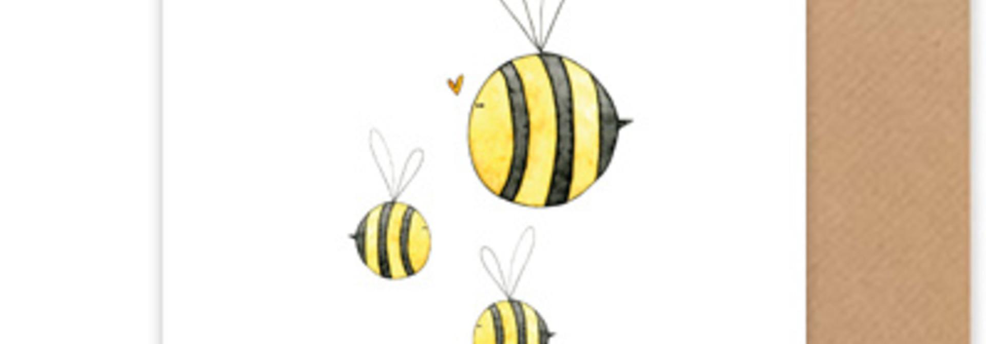 """card bees """"hoera een tweeling"""""""