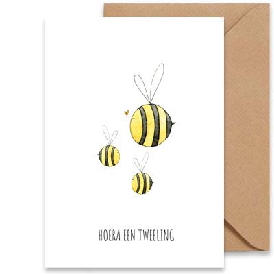 """card bees """"hoera een tweeling""""-1"""