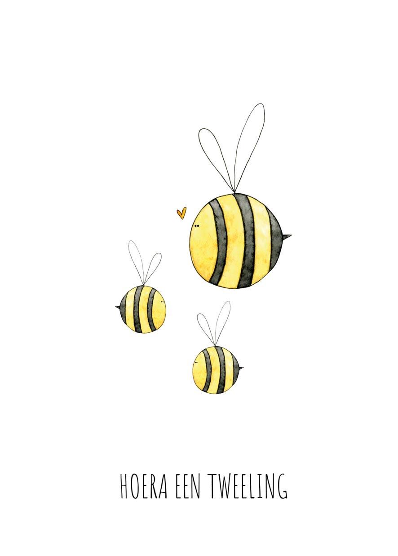 """card bees """"hoera een tweeling""""-2"""