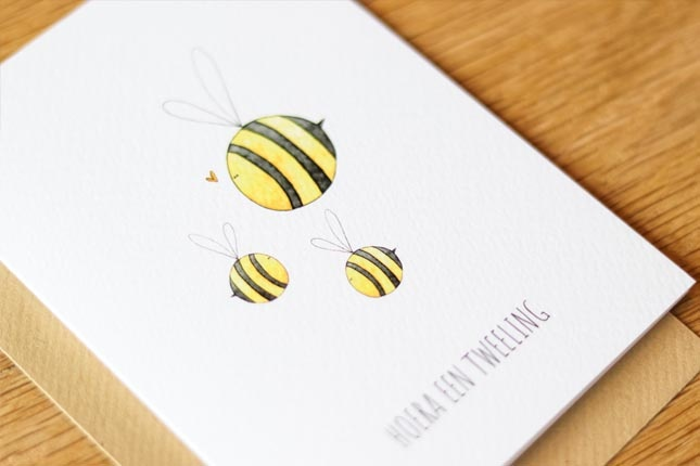"""card bees """"hoera een tweeling""""-3"""
