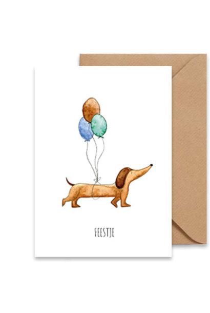 "card dachshound ""feestje"""