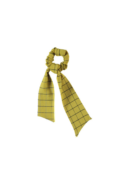 elastic hair band | checkered camel