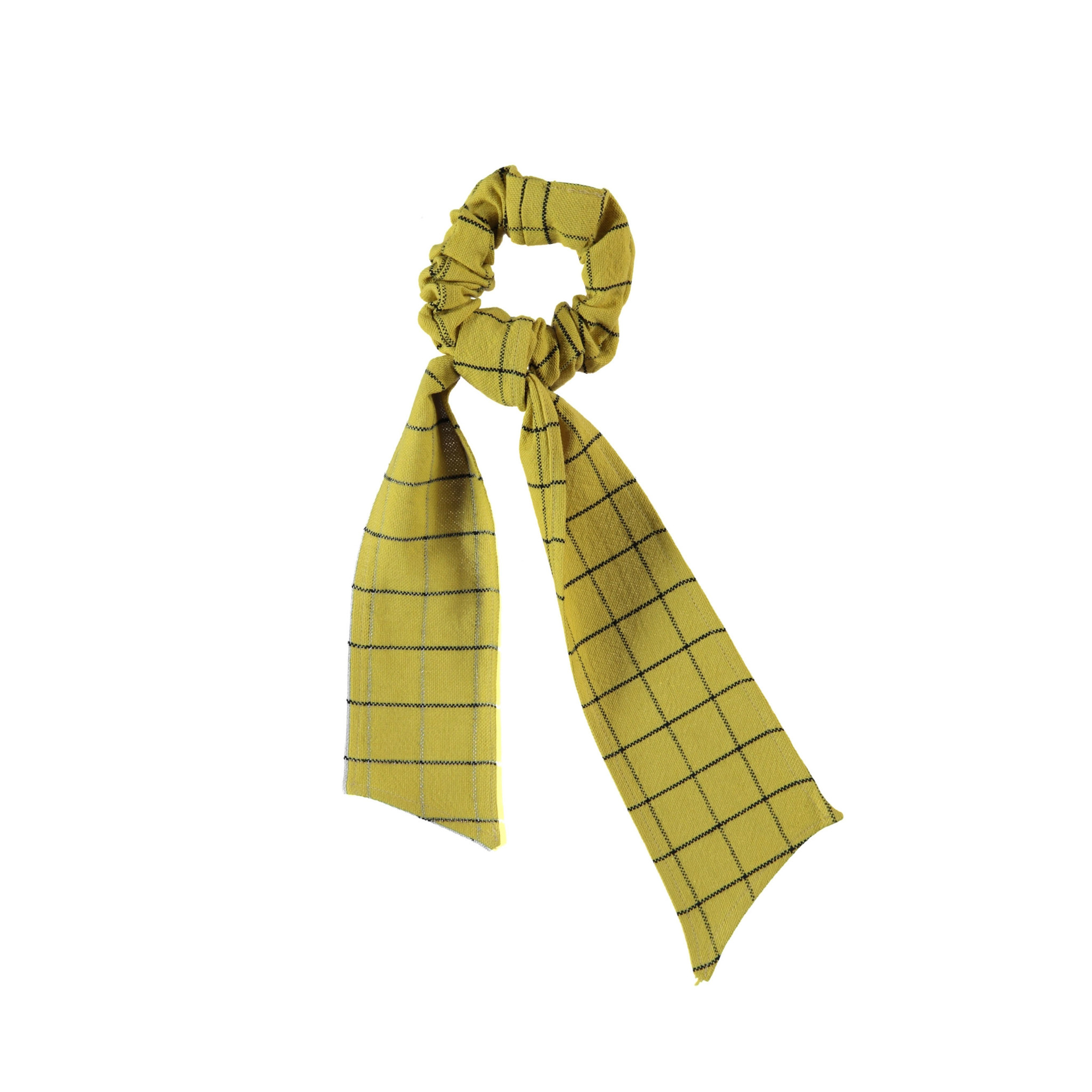 elastic hair band | checkered camel-1