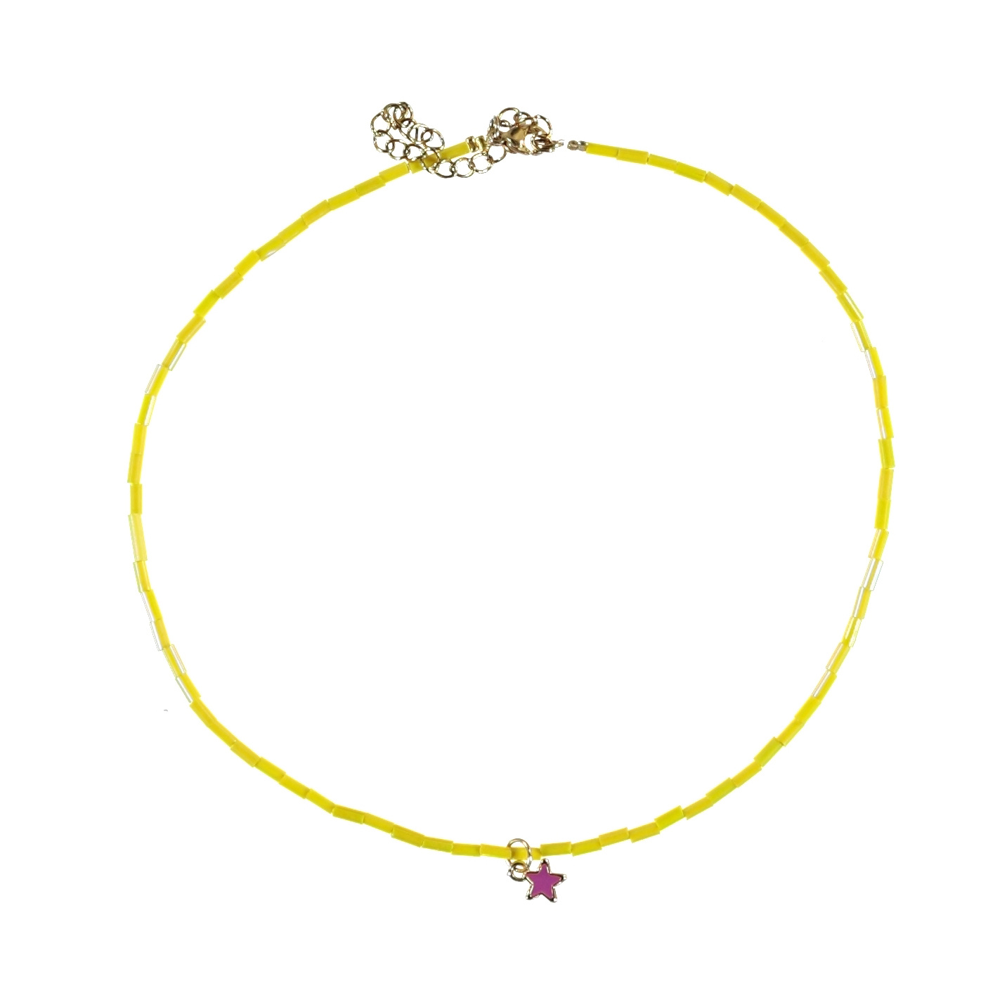 necklace | yellow beads w/star-1