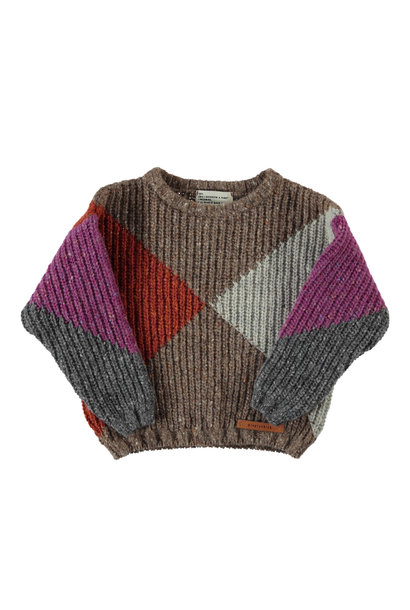 knitted sweater | multicolor geometric intarsia