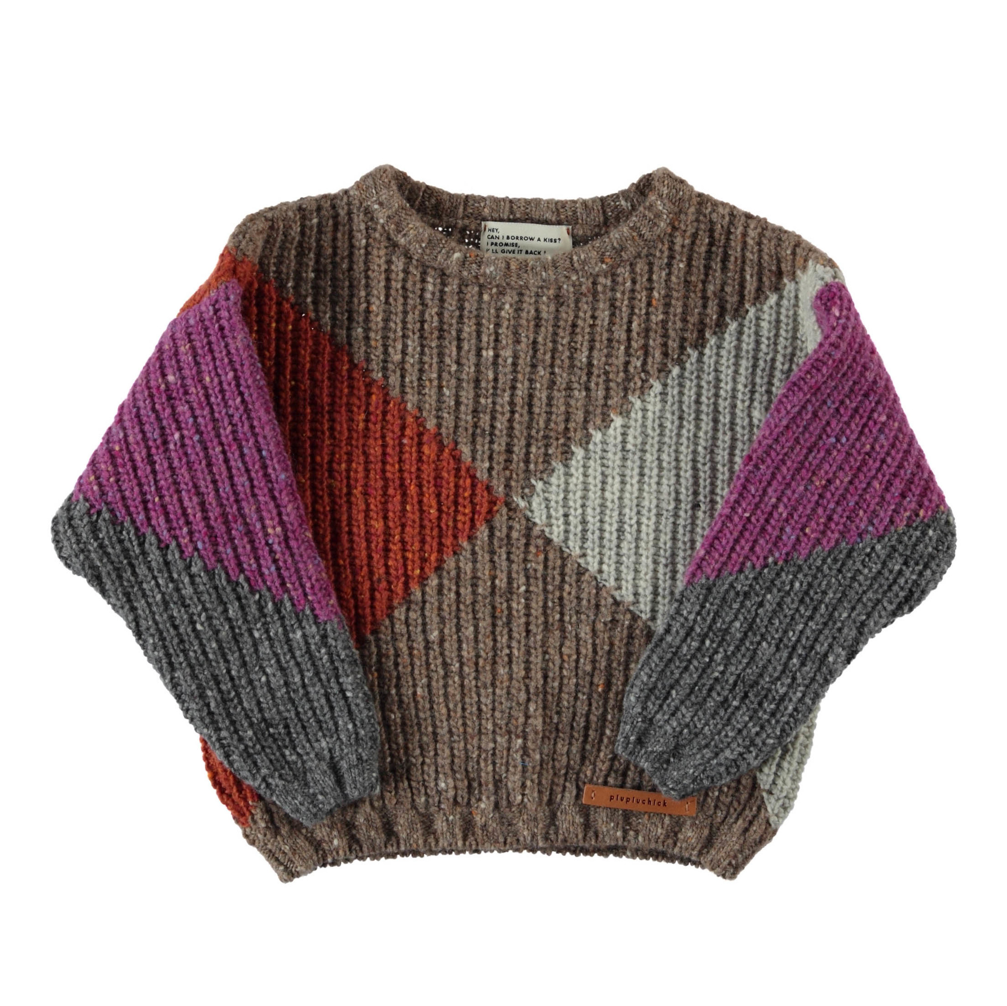 knitted sweater | multicolor geometric intarsia-1