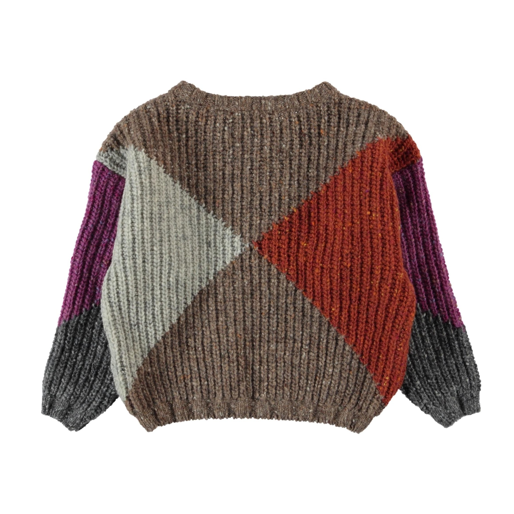 knitted sweater | multicolor geometric intarsia-2