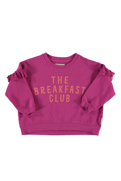 "sweatshirt w/ frills on shoulders | fuchsia w/ ""the breakfast club"" print"