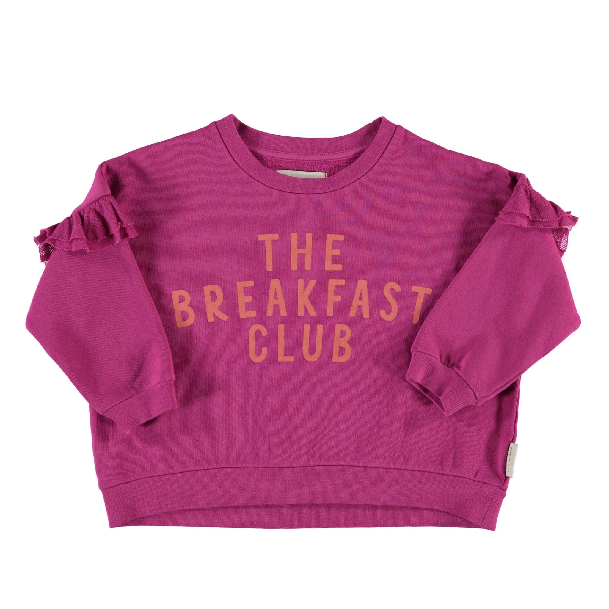"sweatshirt w/ frills on shoulders | fuchsia w/ ""the breakfast club"" print-1"