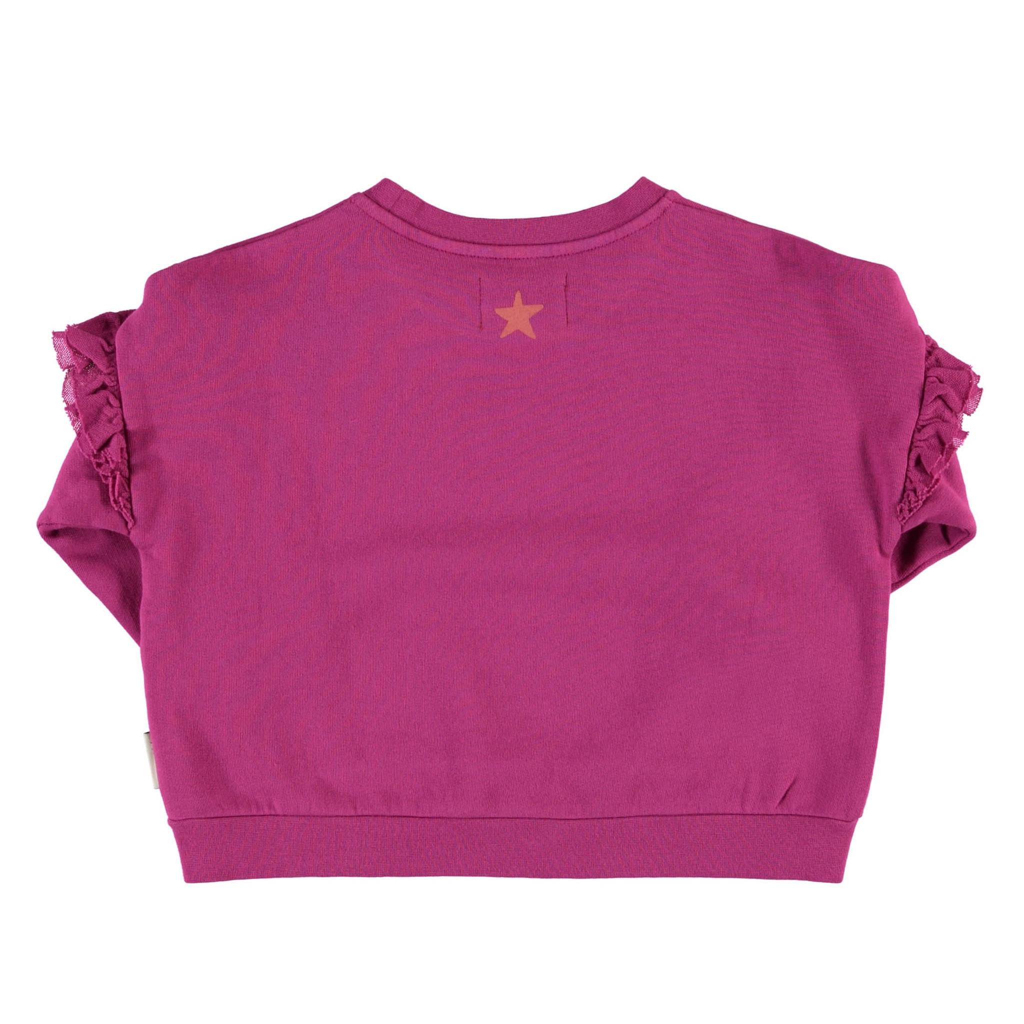 "sweatshirt w/ frills on shoulders | fuchsia w/ ""the breakfast club"" print-2"