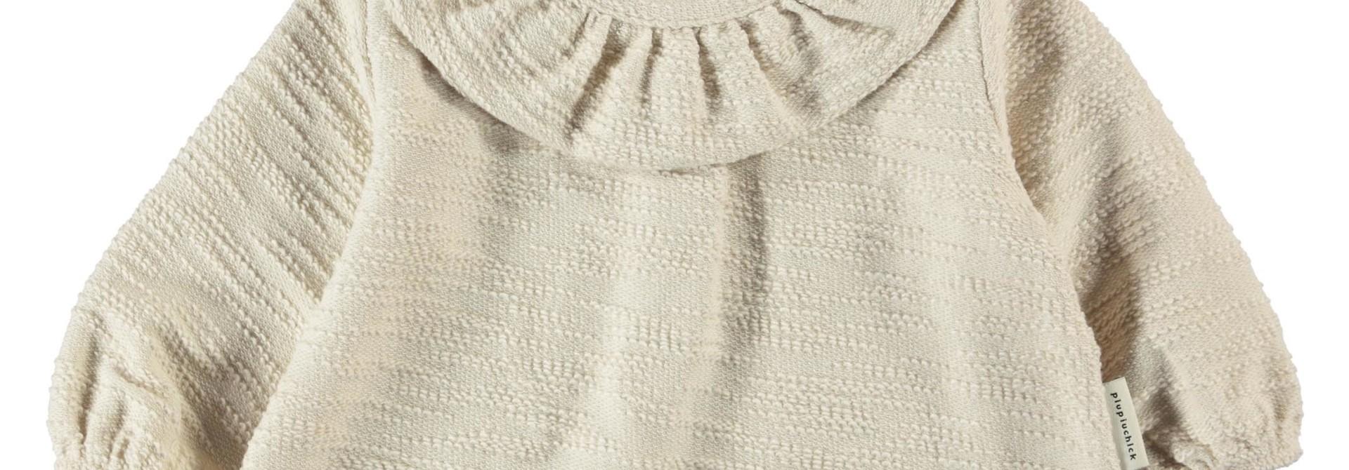round collar blouse   ecru textured jersey