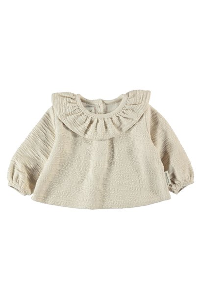 round collar blouse | ecru textured jersey