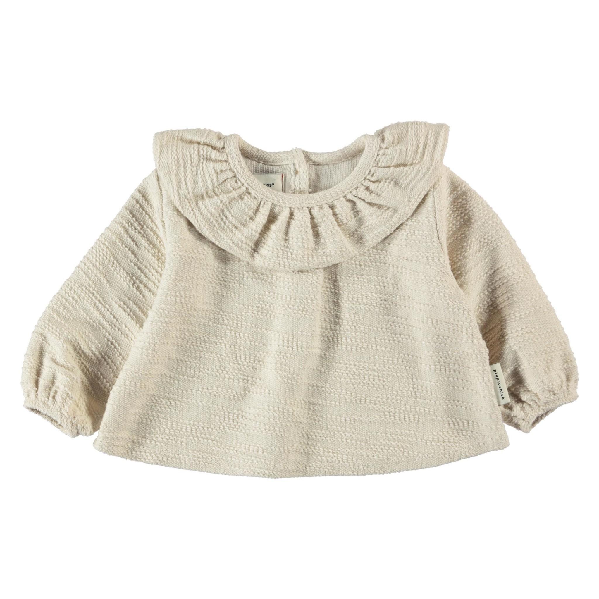 round collar blouse   ecru textured jersey-1