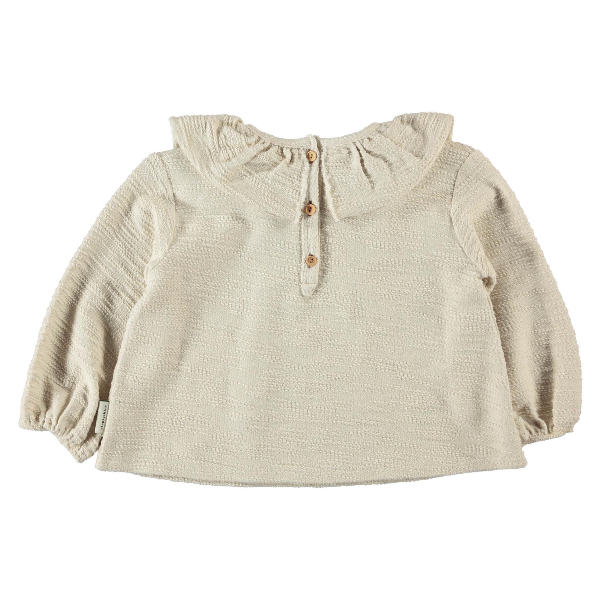 round collar blouse   ecru textured jersey-2