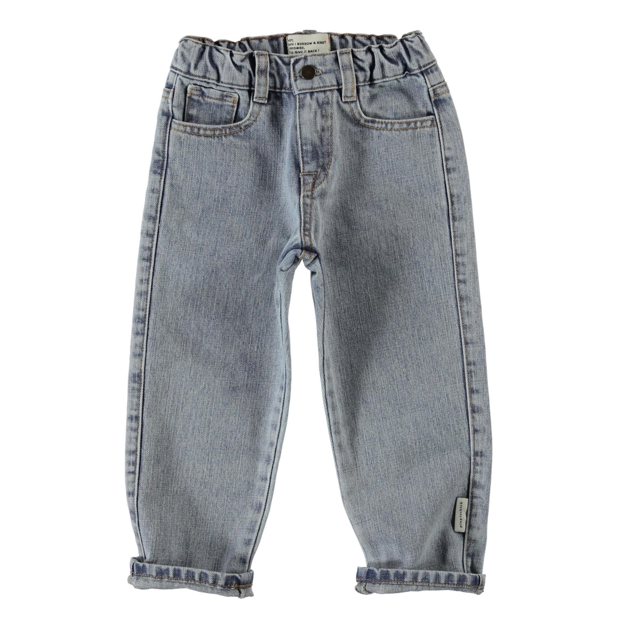 unisex denim trousers | washed light blue denim-1