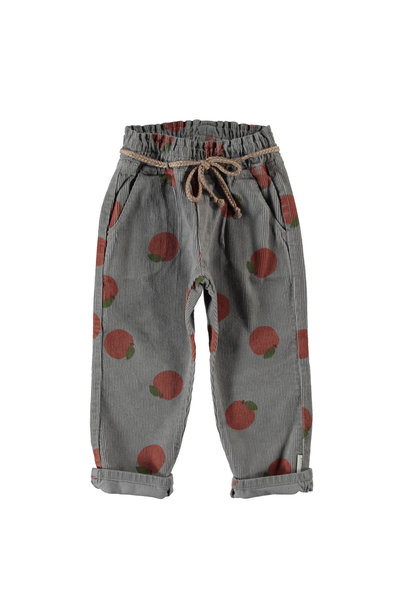 trousers w/ belt | grey w/ peaches allover