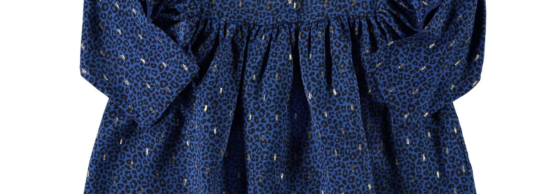 short dress w/ frills on shoulders | indigo animal print w/ golden lurex