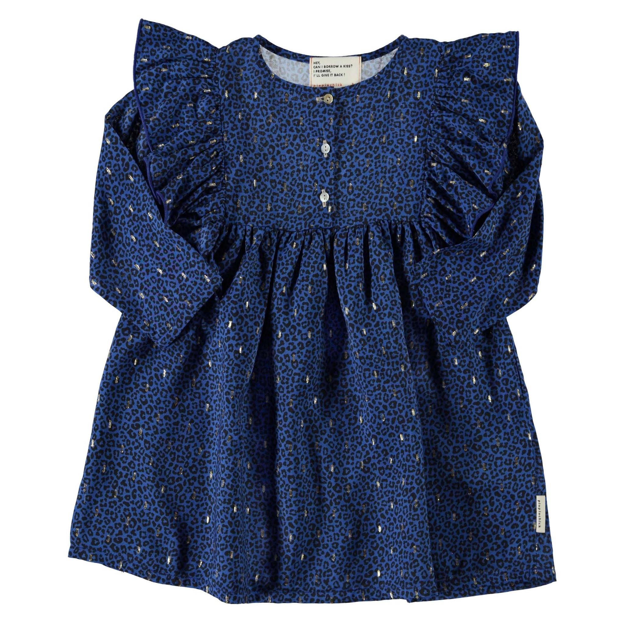 short dress w/ frills on shoulders | indigo animal print w/ golden lurex-1