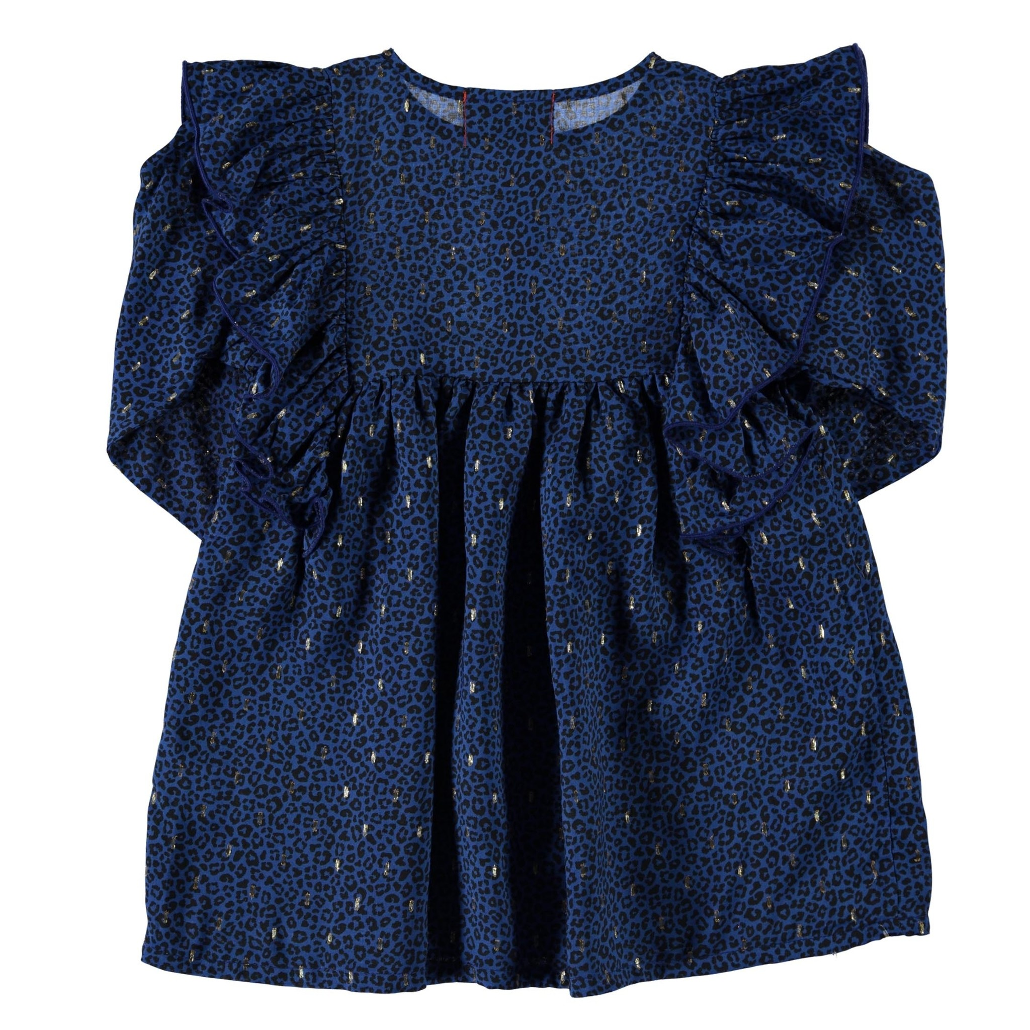 short dress w/ frills on shoulders | indigo animal print w/ golden lurex-2