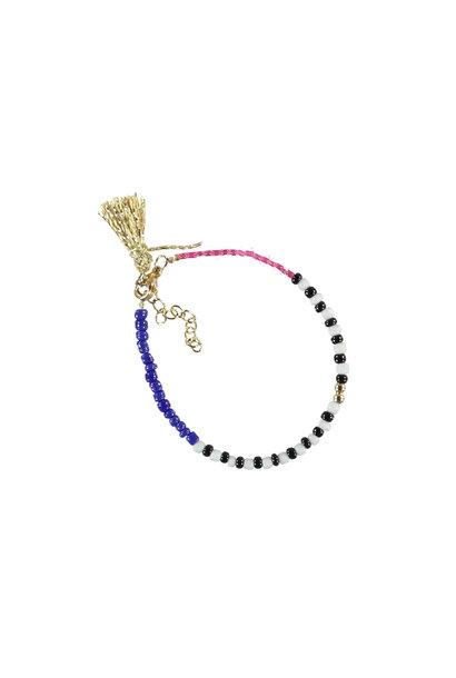bracelets | multicolor & pink | beads w/pompons