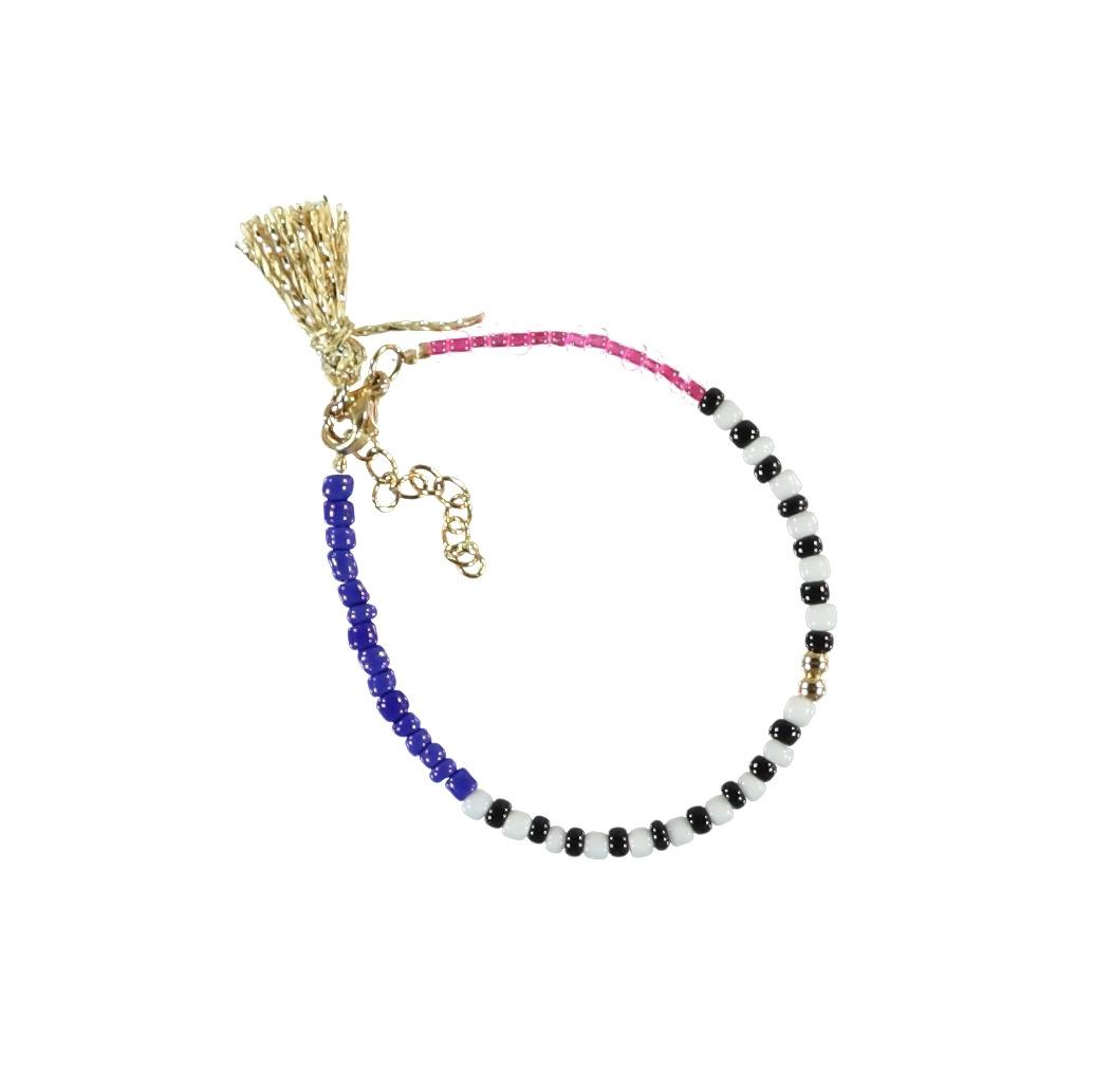 bracelets | multicolor & pink | beads w/pompons-1