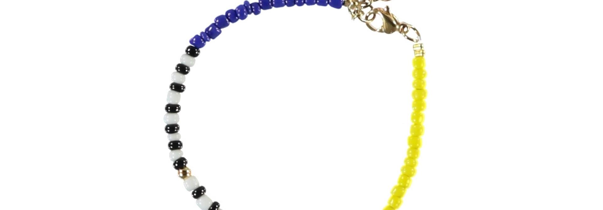 bracelets   multicolor & yellow   beads w/pompons
