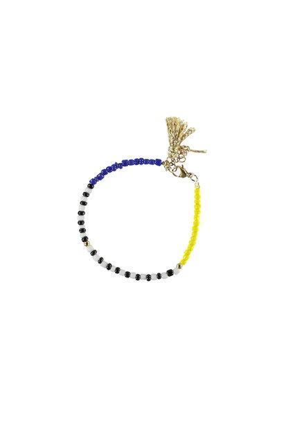 bracelets | multicolor & yellow | beads w/pompons