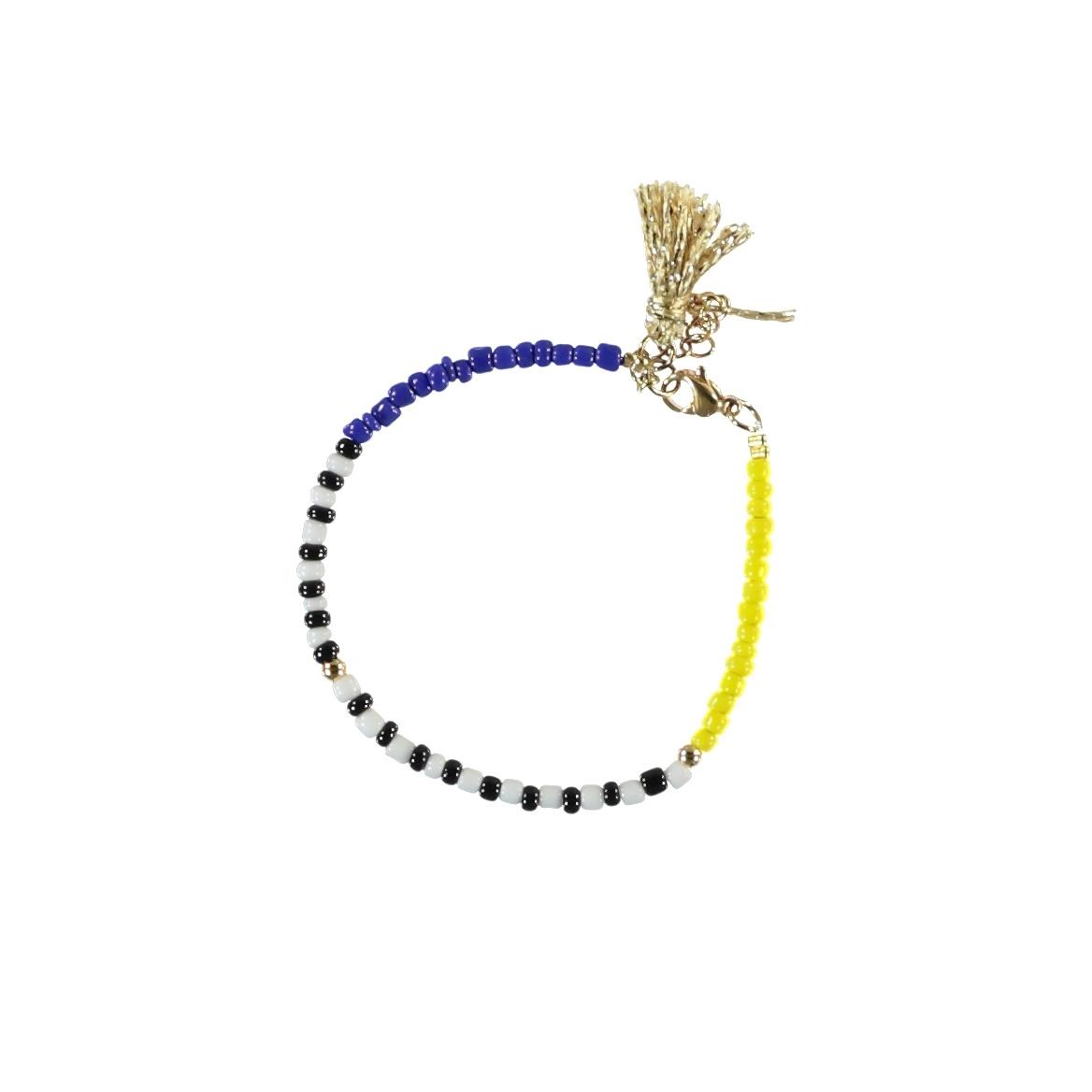 bracelets   multicolor & yellow   beads w/pompons-1