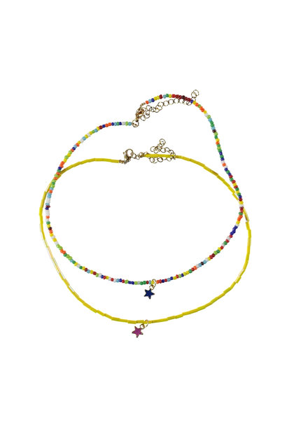 necklace | multicolor beads w/star (single product)