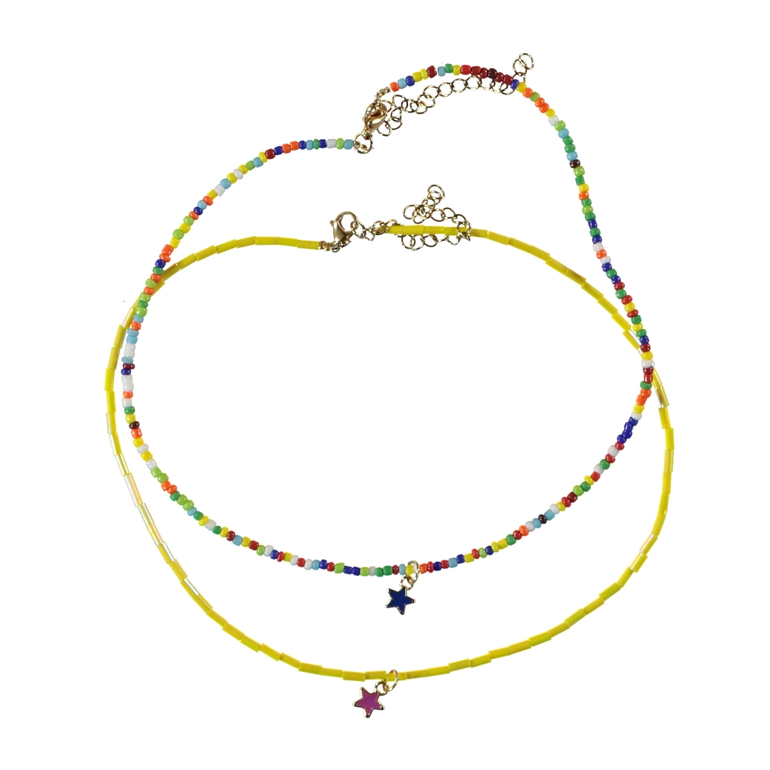 necklace   multicolor beads w/star (single product)-1