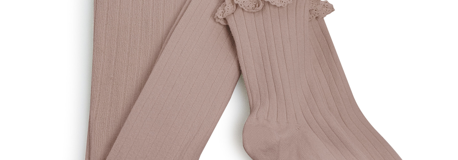 Lace Frill Maillots 'Chloé' Vieux Rose