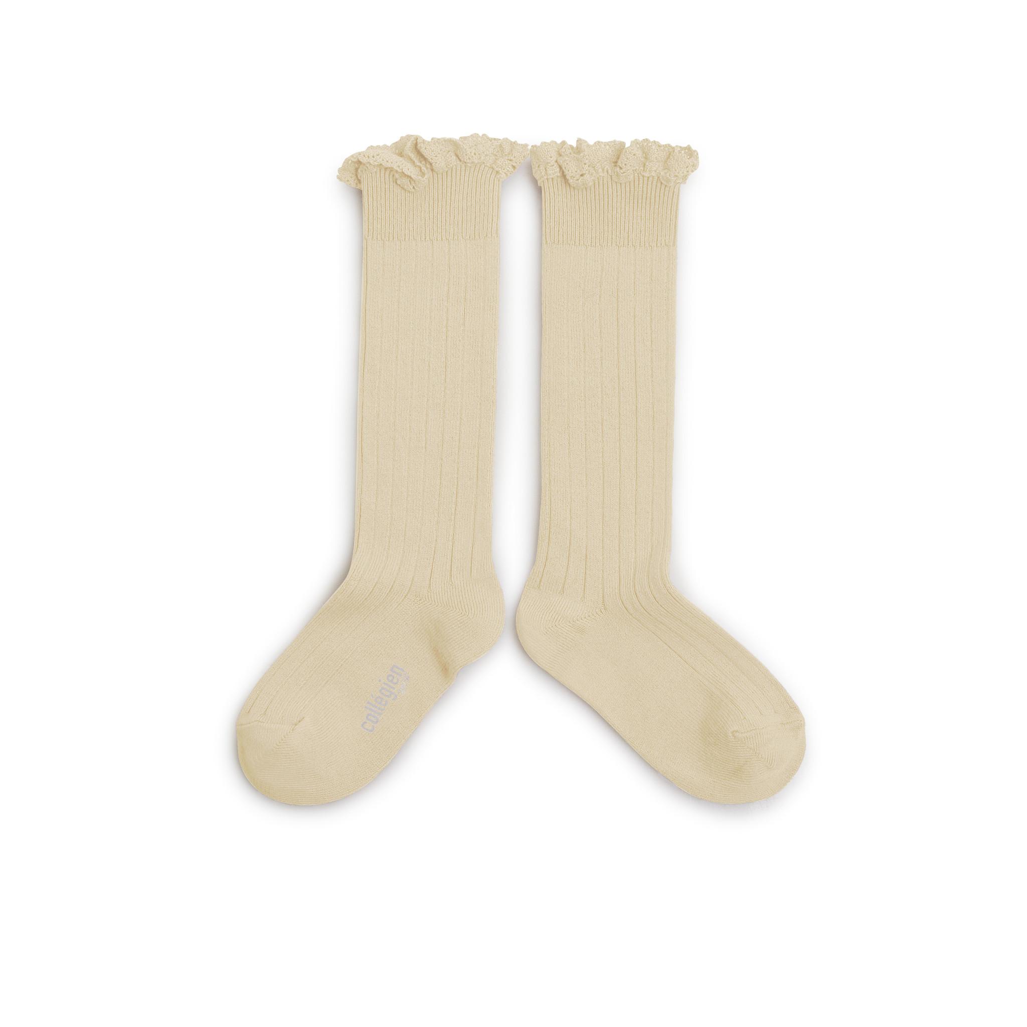 Knee Socks Lace 'Joséphine' Vanille-2