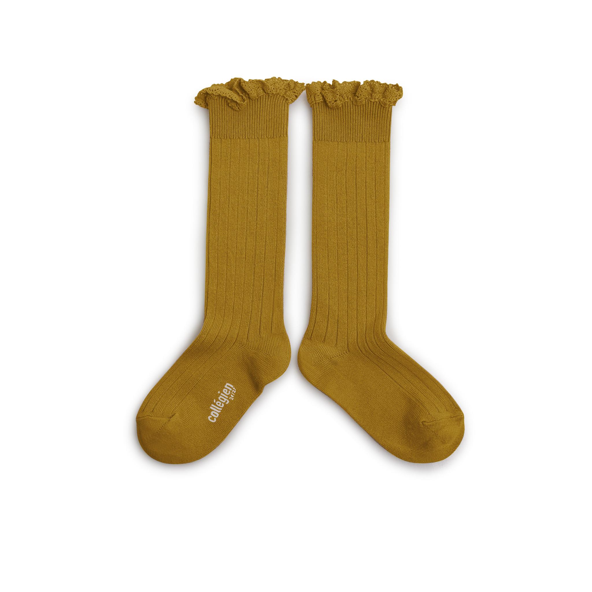 Knee Socks Lace 'Joséphine' Moutarde De Dijon-2