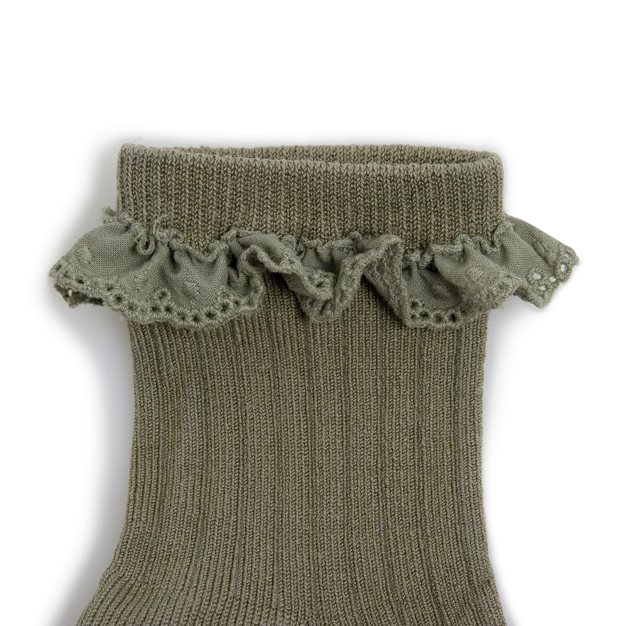 Broderie socks 'Pauline' Sauge-2