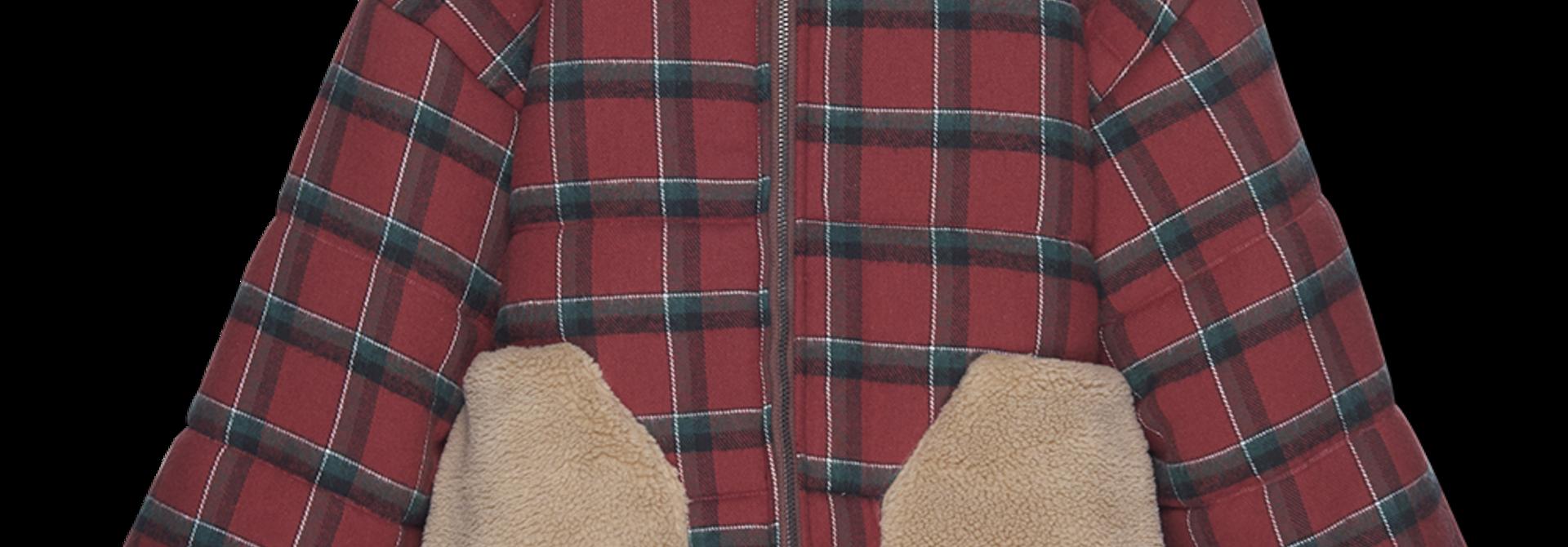 Puffer Jacket - brick plaid