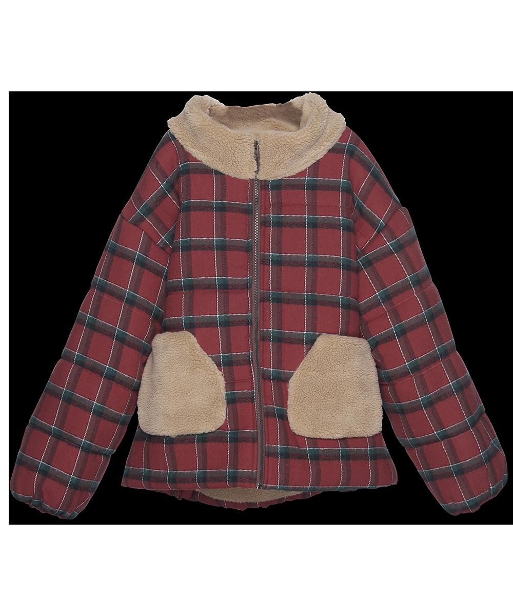 Puffer Jacket - brick plaid-1