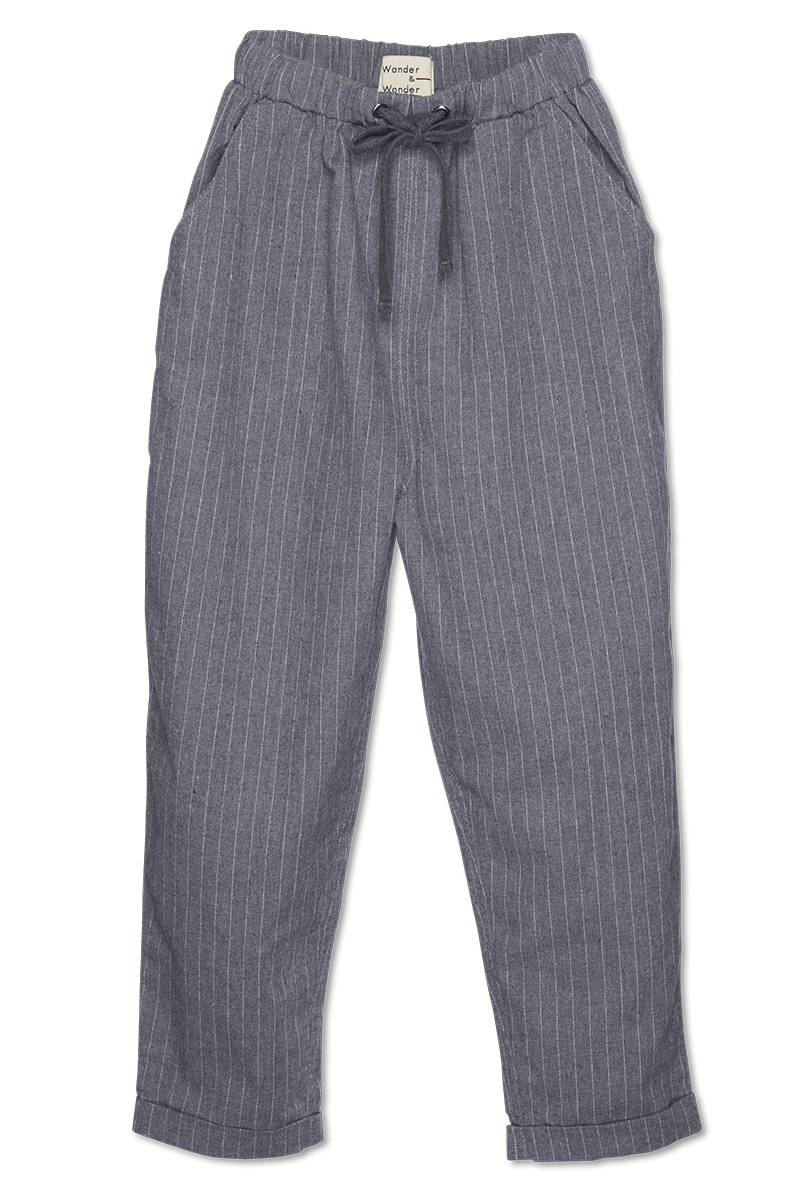 Drawstring Pants - grey stripe-1