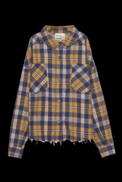 Distresses shirt - honey plaid