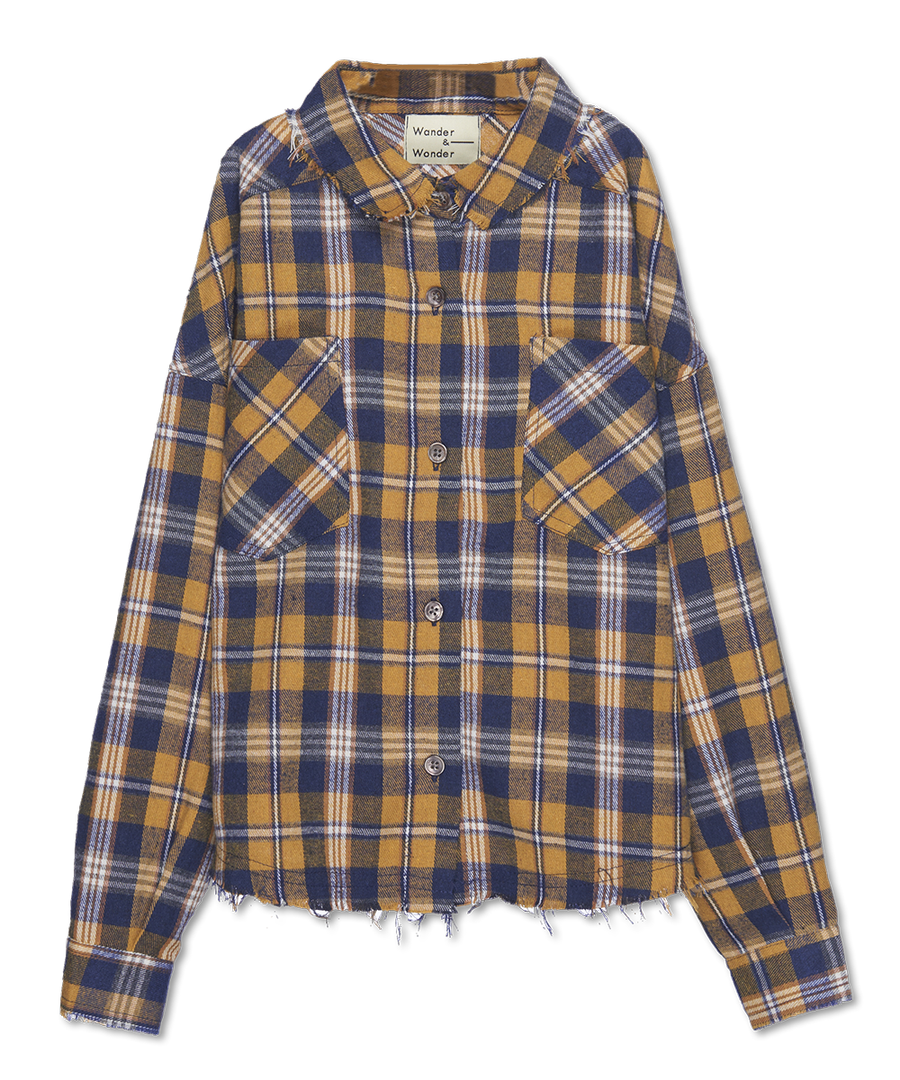 Distresses shirt - honey plaid-1