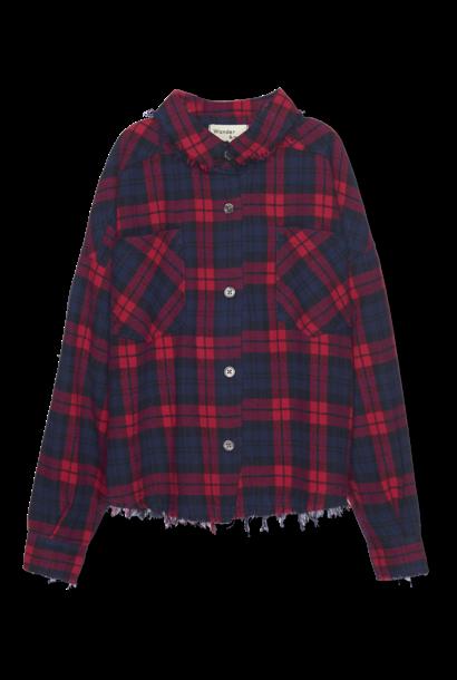 Distresses Shirt - berry plaid