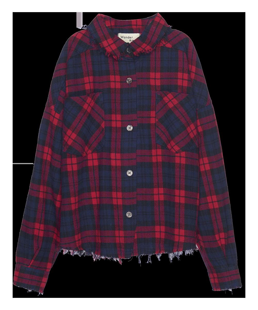 Distresses Shirt - berry plaid-1