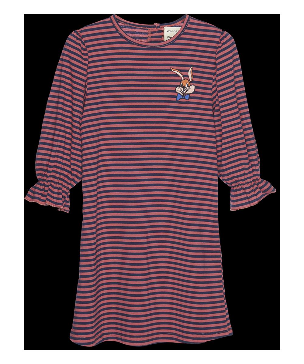 Thea Dress - brick stripe-1