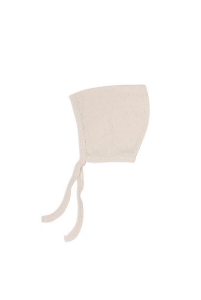 Pointed bonnet pointelle - Oatmeal
