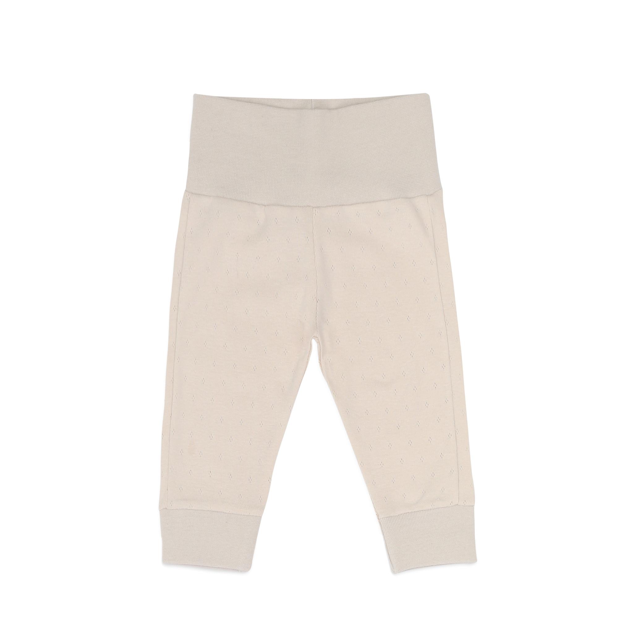Newborn leggings pointelle - Oatmeal-1